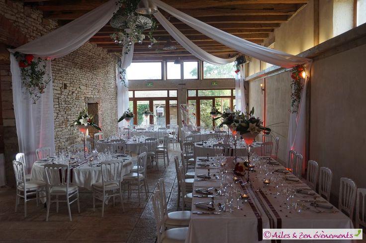 """Organisation , coordination et décoration de mariage sur le thème """"Champêtre chic"""" en bordeaux, blanc et argent."""