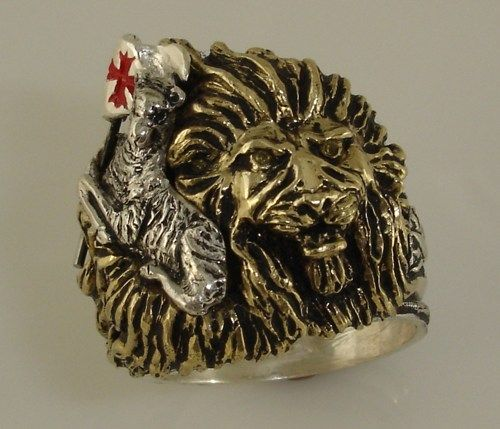 ~Lion lies down with Lamb Ring~   Unique Offset head design ...*Golden maned Lion with silver Lamb holding red enamelled Cross flag, citrine eyes x2.... bottom all silver shank, Make this Lion Head  a