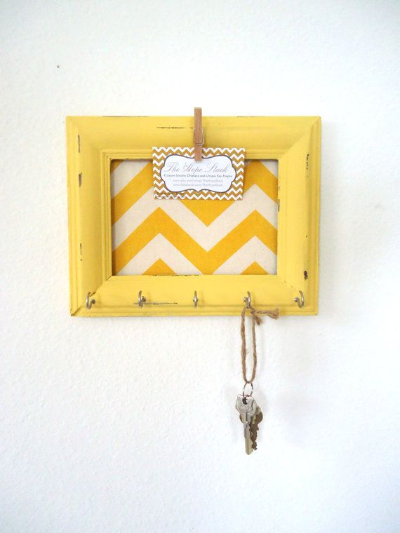 Key Holder Memo board Home Decor  Yellow Chevron by TheHopeStack,