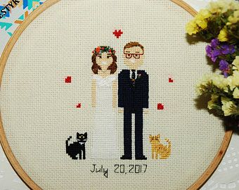 Custom Anniversary portrait 1st anniversary gift Cross stitch couple portrait gift for couple unique 1st anniversary gift
