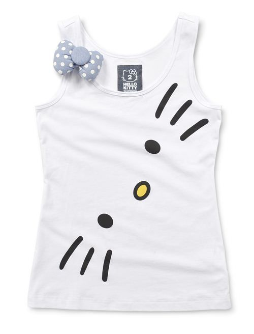 Adorable Hello Kitty tank top with bow application by Giordano
