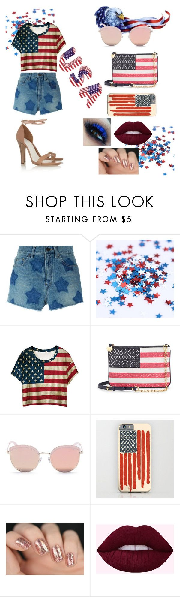 """Happy Independence Day !!! USA"" by cristhina-a-dieguez-c on Polyvore featuring moda, Yves Saint Laurent, WithChic, Draper James, Stephane + Christian y Gucci"