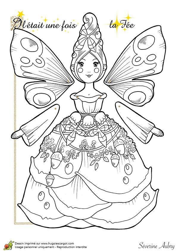Coloriage d'une marionnette articulée, la fée, page 4 sur 14 sur HugoLescargot.com