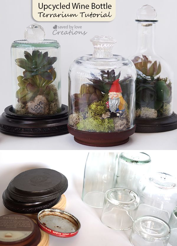 Recycled Wine Bottle Craft DIY Terrarium Tutorial @savedbyloves