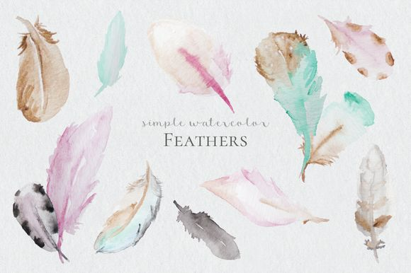 Watercolor Feathers by DesignsByMissM on @creativemarket