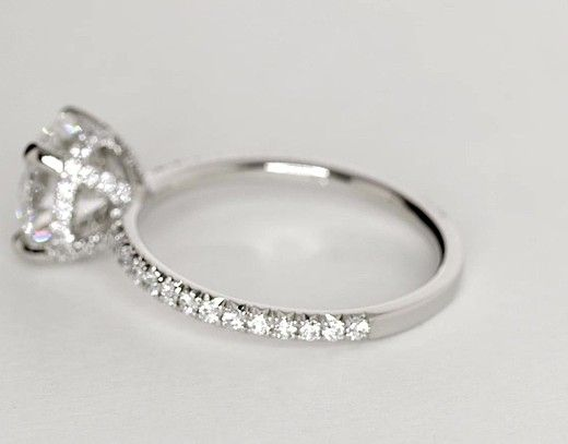 Blue Nile Studio Petite French Pavé Crown Diamond Engagement Ring in Platinum (1/3 ct. tw.) | Blue Nile