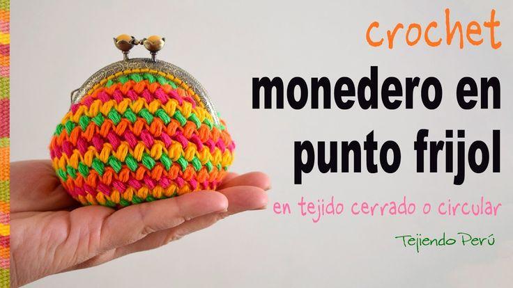 Monedero con broche en punto frijol tejido en circular a crochet - Tejie...