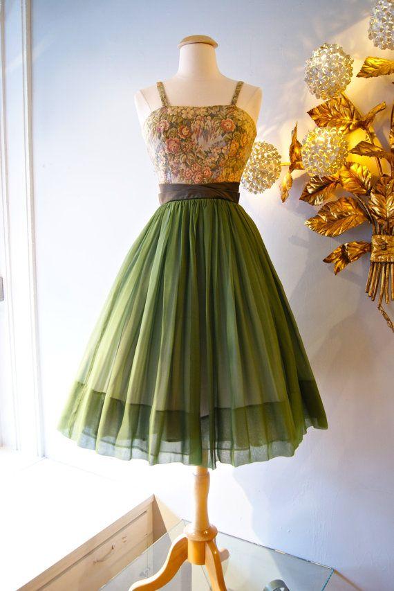 1960s Dress // Vintage 60s Jr. Theme Silk Chiffon Party Dress