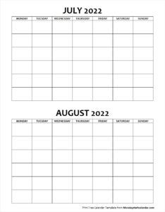 blank calendar july and august 2022 monday to sunday june 2018 pinterest blank calendar federal holiday calendar and june