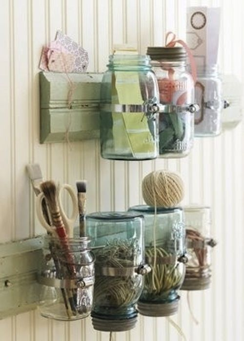 mason jar organizer. *this would be great for hair brushes, flat irons, blow dryers, etc.*
