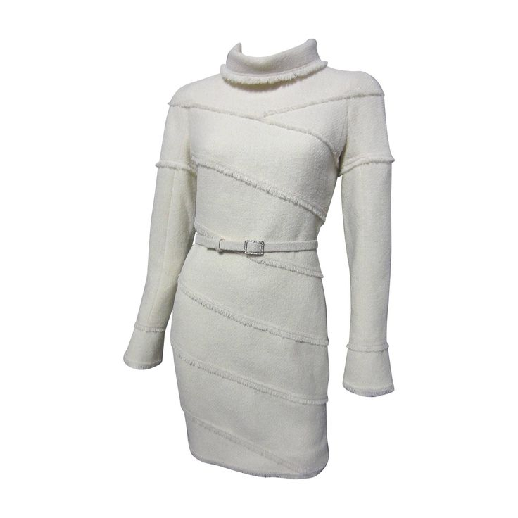 CHANEL Creme Wool Dress with Fringe Detail and Matching Belt 1