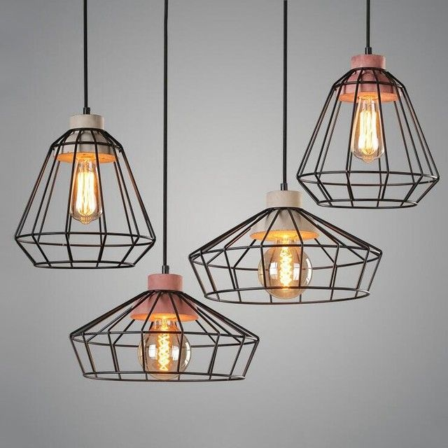 Retro Industrial Grey Red Concrete Black Metal 1 Light Wire Cage Pendant Light In Multiple Styles Cage Pendant Light Pendant Light Black Cage Pendant Lighting
