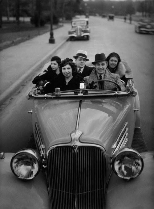 Robert Doisneau, 1934. Anyone fancy a spin in the country this weekend? http://www.landedhouses.co.uk/large-houses-hire-2-5-hours-london/
