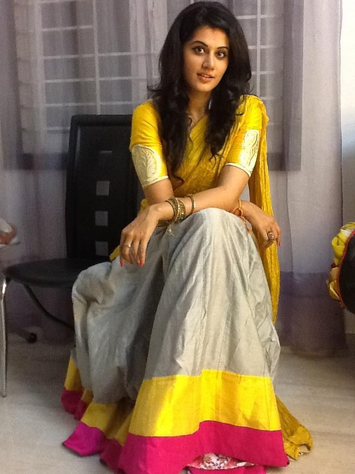 Taapsee Pannu wearing Yellow n Gray Half Saree