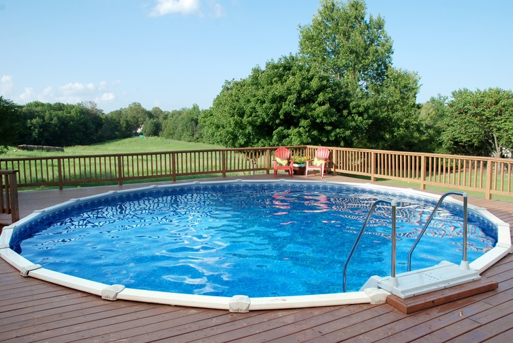 Doughboy above ground pool with full custom deck - Custom above ground pool ...