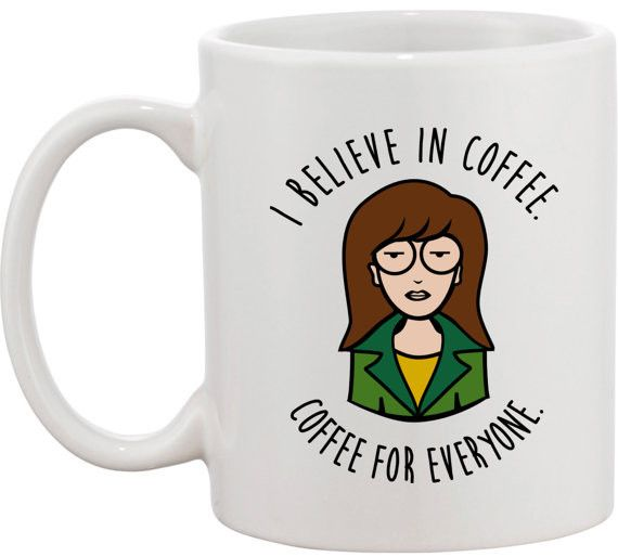 I Believe In Coffee Mug http://shop.nylon.com/collections/whats-new/products/i-believe-in-coffee-mug #daria #cartoon #cup #nylonshop