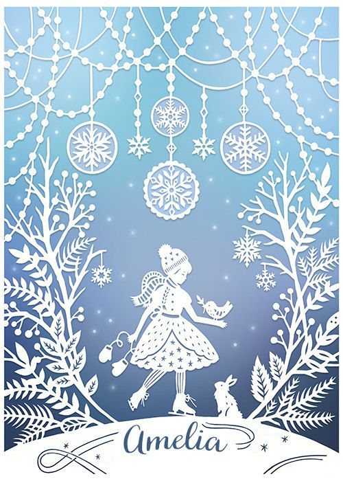 This is a print of my original papercut illustration featuring a girl on ice skates in a snowy winter wonderland. It is customized with the name