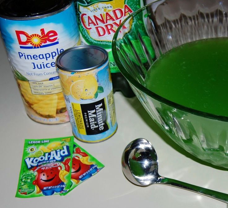 "Green Punch - ""Great punch for Halloween, Christmas and St. Patrick's Day, because of its beautiful bright green color!"""