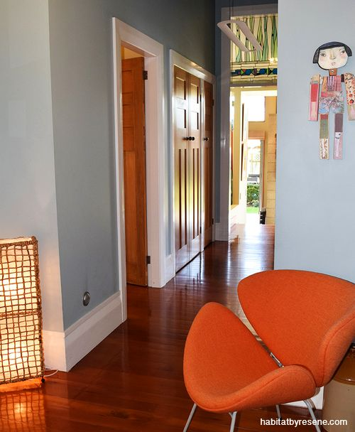 The original part of this house is a 1920s weatherboard-clad bungalow, with high ceilings, and timber doors and windows. The hallway is painted in Resene Jungle Mist and Resene White. http://www.habitatbyresene.co.nz/antanas-and-tara