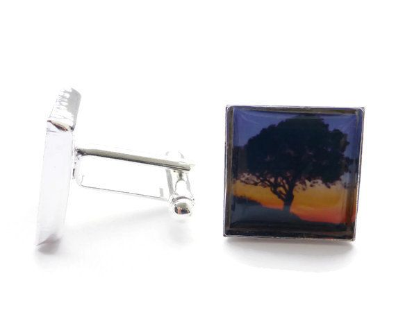 Tree Cufflinks, Sunset Photography, Silver and Blue and Orange, OOAK, For Him, Gifts for Men, Photo Jewelry Jewellery, 16mm Square Cufflinks