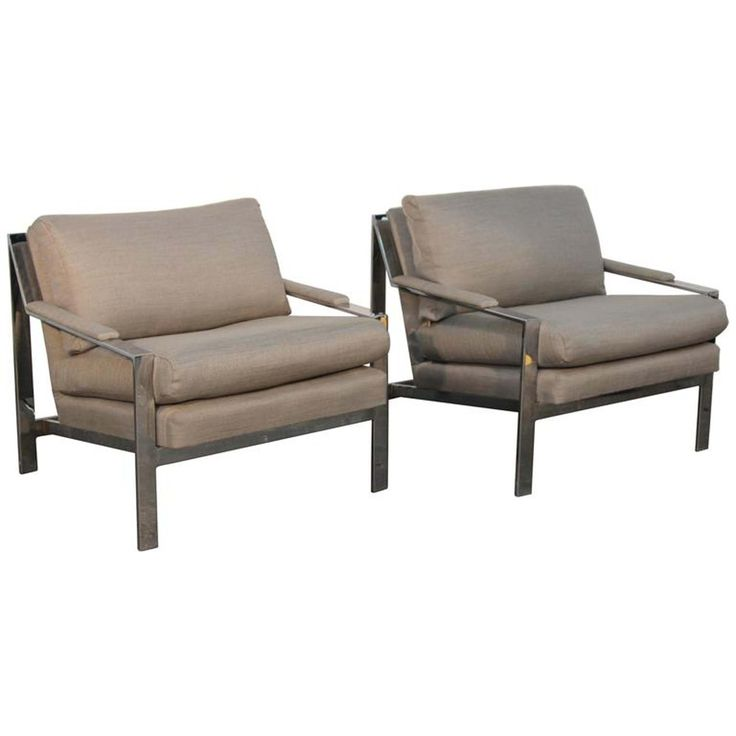 Buy Pair of Cy Mann Chrome Flat Bar Lounge Chairs by Iconic Modern Home - Limited Edition designer Furniture from Dering Hall's collection of Mid-Century Modern Modern Lounge Chairs.