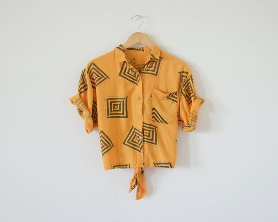 80s+crop+shirts+/+orange+shirts+/+1980s+by+standardedition+on+Etsy,+$79.00