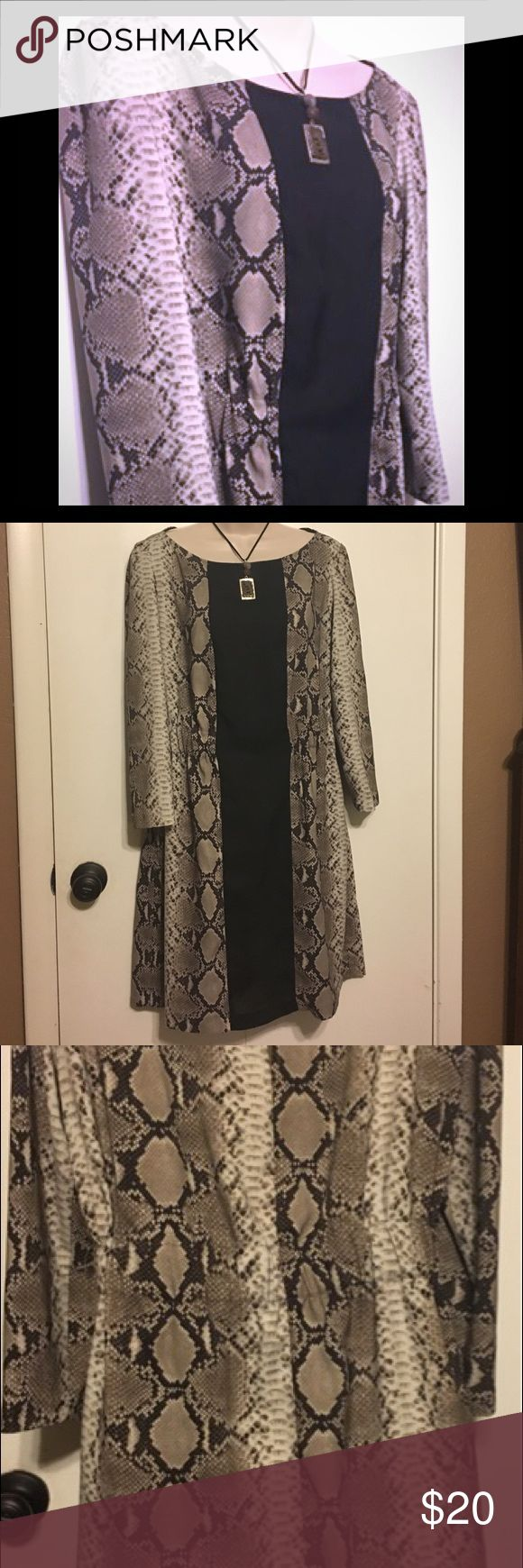 Zara Snake Print Dress MIDI dress features built in belting to add structure & definition. Panel of black justifies the aggressive snake print while the back of dress is all 🐍 without interruption.  In great like new condition. Re- Posh. Size: euro large, so a medium. 😋 Zara Dresses Midi