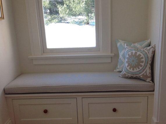 Custom Sewn Window Seat Cushion With Cording Playroom
