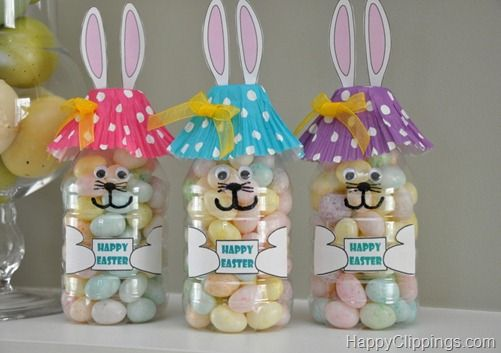 Cute bunny treat holders made from water bottles, cupcake liners and a printed label.