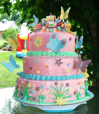 Coolest Homemade 3 Tiered Butterfly Birthday Cake