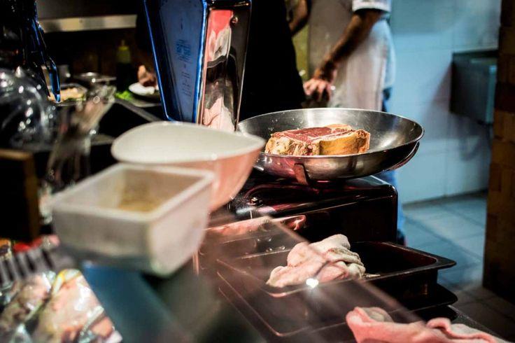 Weighing a beef steak