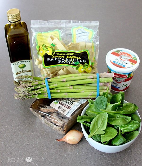 Pappardelle with Asparagus, Mushroom, and Ricotta – Simple to make and delicious!