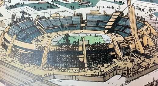 En 1988, le manga Akira montrait la construction d'un stade en prévision des jeux 2020, stade malheureusement inachevé à cause de la 3eme guerre mondiale !