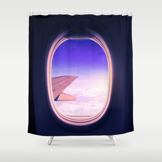 Travel the World. Magical view from an airplane window with the sun glowing over the clouds and the star filled sky. Edited in Photoshop and Lightroom. #adventure #wanderlust #travel #airplane #window #sky #stars #clouds #window #purple #shower #curtains