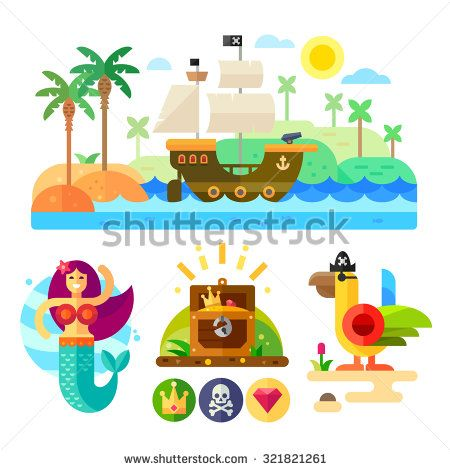 Pirate theme vector illustration set: pirate ship, pirate parrot with eye patch, mermaid, treasure, pirate symbols, jolly roger, pirate crown. Flat cartoon icon set.