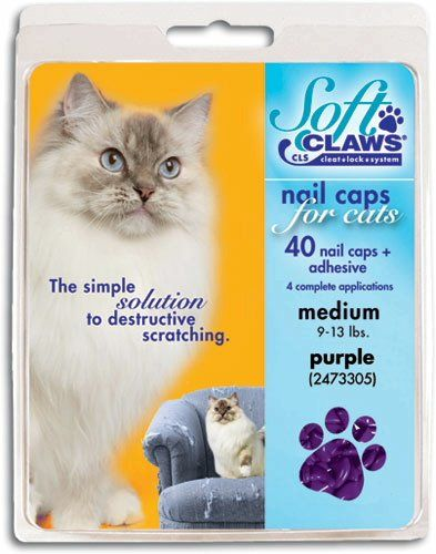 Feline Soft Claws Cat Nail Caps Take-Home Kit, Medium, Purple - Feline soft claws nail caps take-home kit helps customers protect their homes against destructive scratching by applying soft claws nail caps to their pets' nails. A great add-on to your routine professional nail care. This is simple, non-surgical alternative to declawing. Easy-to-apply caps last...