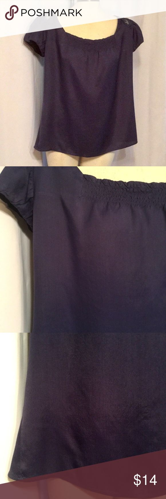 """ODILLE Anthropolgie Navy Blue Peasant Smocked Top ODILLE ~ Anthropologie  Pre-owned ~ Excellent Condition!  SIZE: 8  COLOR: Navy Blue  MATERIAL: 100% Rayon  BUST: Pit-to-Pit – 23"""" across / 46"""" around  LENGTH: 25""""  CARE: Machine wash / Tumble dry  Item #: 7041 Odille Tops Blouses"""