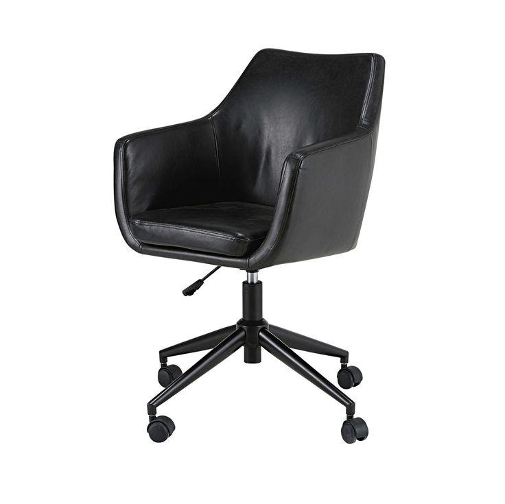 Schreibtischsessel aus beschichtetem Textil schwarz in gealterter Optik Davis