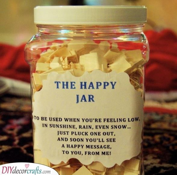 The Happy Jar Brighten Her Day Happy Jar Personalised Gifts For Girlfriend Girlfriend Gifts
