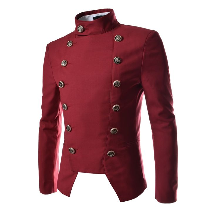 Korean Fashion Mens Red Double Breasted Military Jackets Clothing