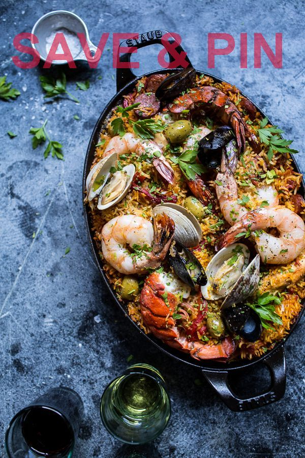 Skillet Grilled Seafood and Chorizo Paella, simple…