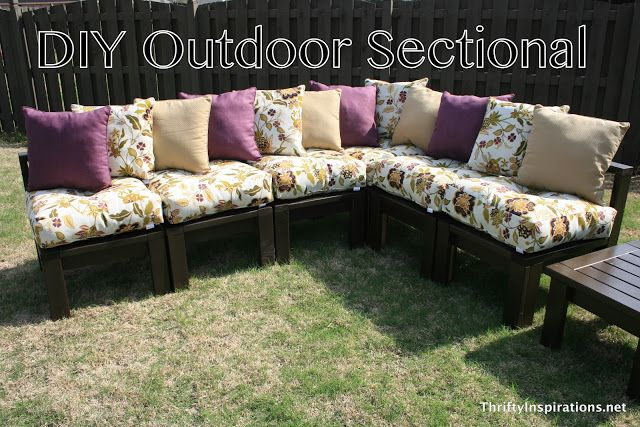 DIY Outdoor Sectional ~could adapt this for a corner kitchen seating unit around a table.