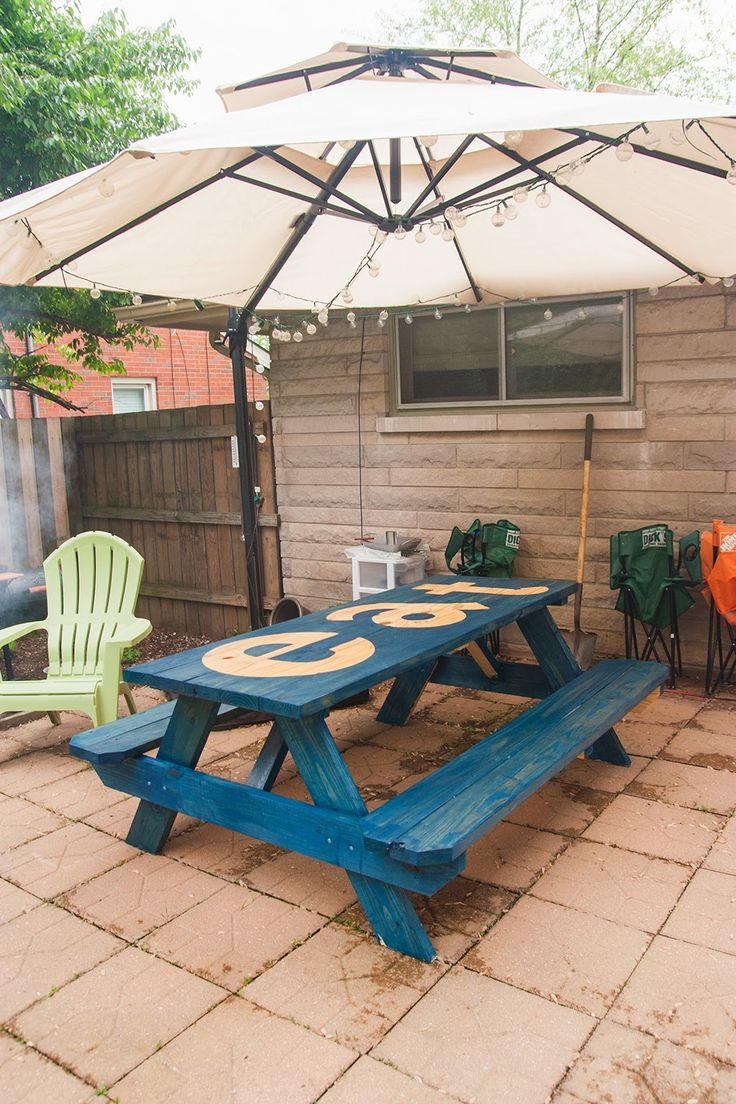 DIY stained and stenciled picnic table: My Old Kentucky House Blog - 25+ Best Ideas About Picnic Table With Umbrella On Pinterest