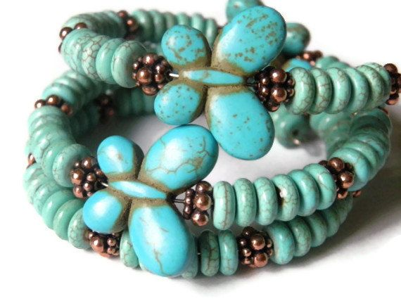 Wrap bracelet blue coral turquoise butterflies by TheRottenRooster, $44.00