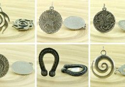 1pc Amulet Czech Findings Matte Aged Antique Silver Pendant Focal Rustic Handmade 30mm