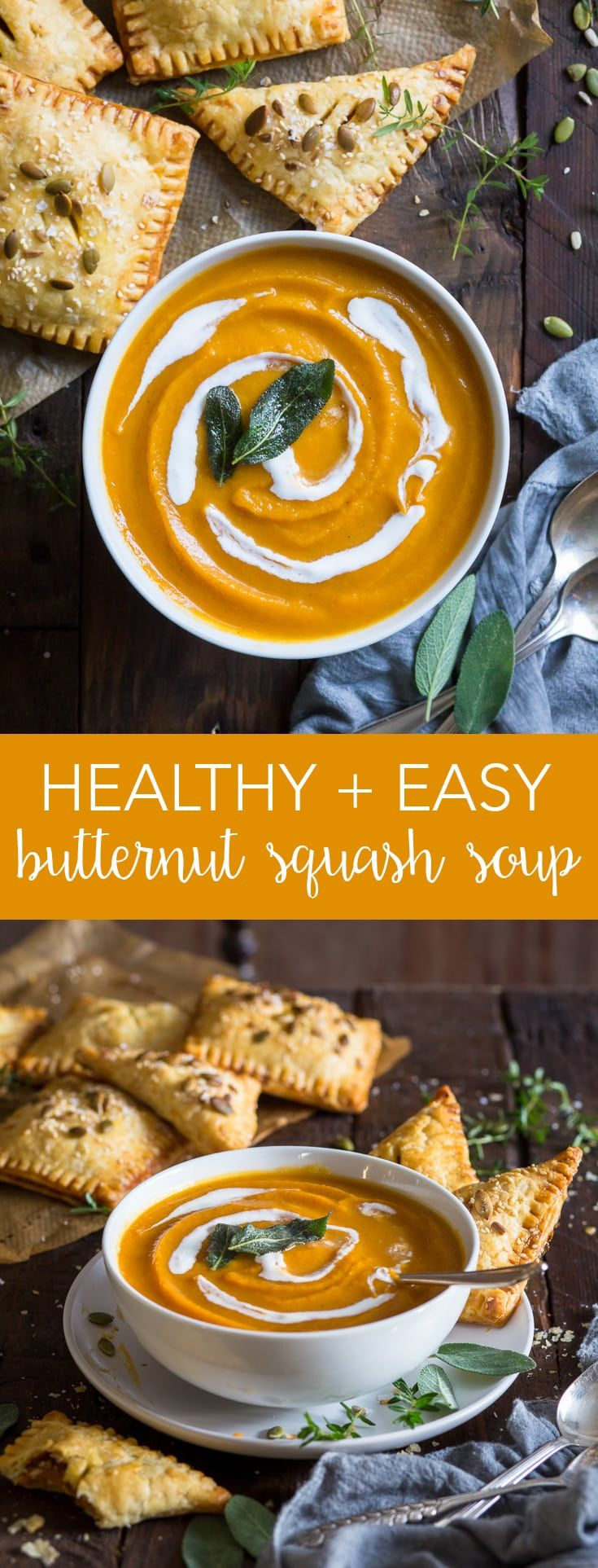 Roasted Butternut Squash Soup (Gluten Free, Dairy Free, Vegan, Paleo) – This healthy (and super creamy) roasted butternut squash soup couldn't be easier to make. With the addition of caramelised onions and a generous pinch of nutmeg, it's the perfect fall comfort food. Plus, it's dairy free, vegan and paleo! Pumpkin recipes. Pumpkin soup. Butternut squash recipes. Easy soup recipe. Healthy lunch ideas. Healthy soup. Vegan pumpkin soup. Thanksgiving recipes. #pumpkin #healthyrecipes