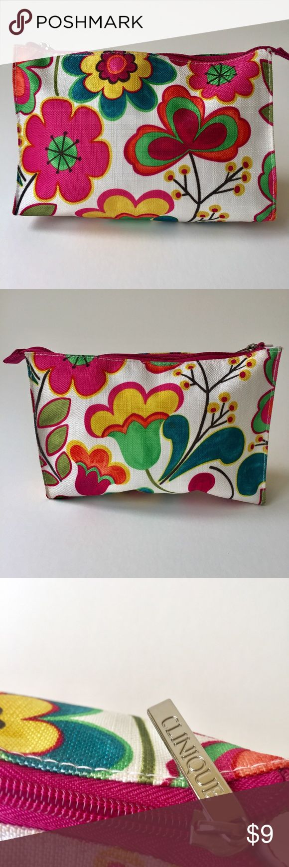 "Clinic Makeup Bag Floral Print Clinique makeup bag, never used.  Textured fabric is 100% Polyester  Zip closure with Clinique logo pull Width 9"" Height 6"" Depth 2"" Bundle with your others likes to save on shipping Clinique Bags Cosmetic Bags & Cases"
