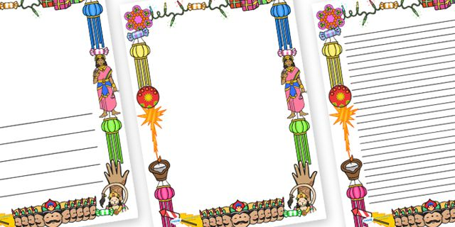 Twinkl Resources >> Diwali Page Borders >> Thousands of printable primary teaching resources for EYFS, KS1, KS2 and beyond! page borders, border, Diwali, religion, hindu, hanoman, rangoli, sita, ravana, pooja thali, rama, lakshmi, golden deer, diva lamp, sweets, new year, mendhi, fireworks, party, food,
