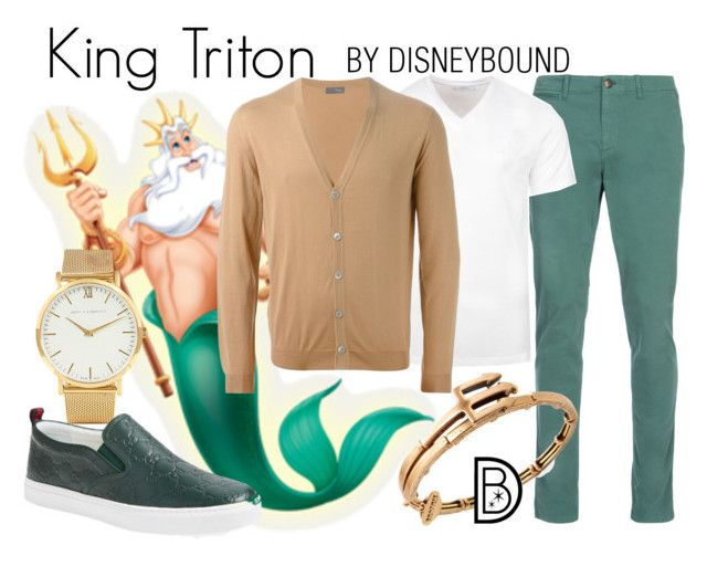"""""""King Triton"""" by leslieakay ❤ liked on Polyvore featuring Larsson & Jennings, Gucci, Alex and Ani, Versace, Drumohr, men's fashion, menswear, disney, disneybound and disneycharacter"""