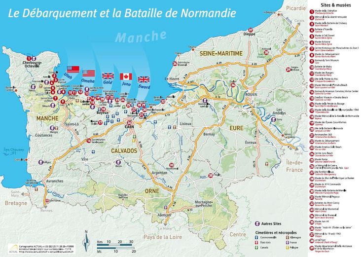 Cliquez pour agrandir la carte des plages du Débarquement et Bataille de Normandie / P3999-Actual